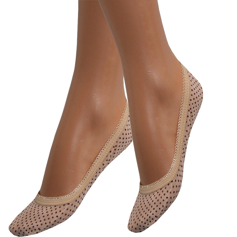 Füßlinge für Damen Baumwolle Sneaker Socken Schwarz Beige mit Punkten Frauen Mix von SGS