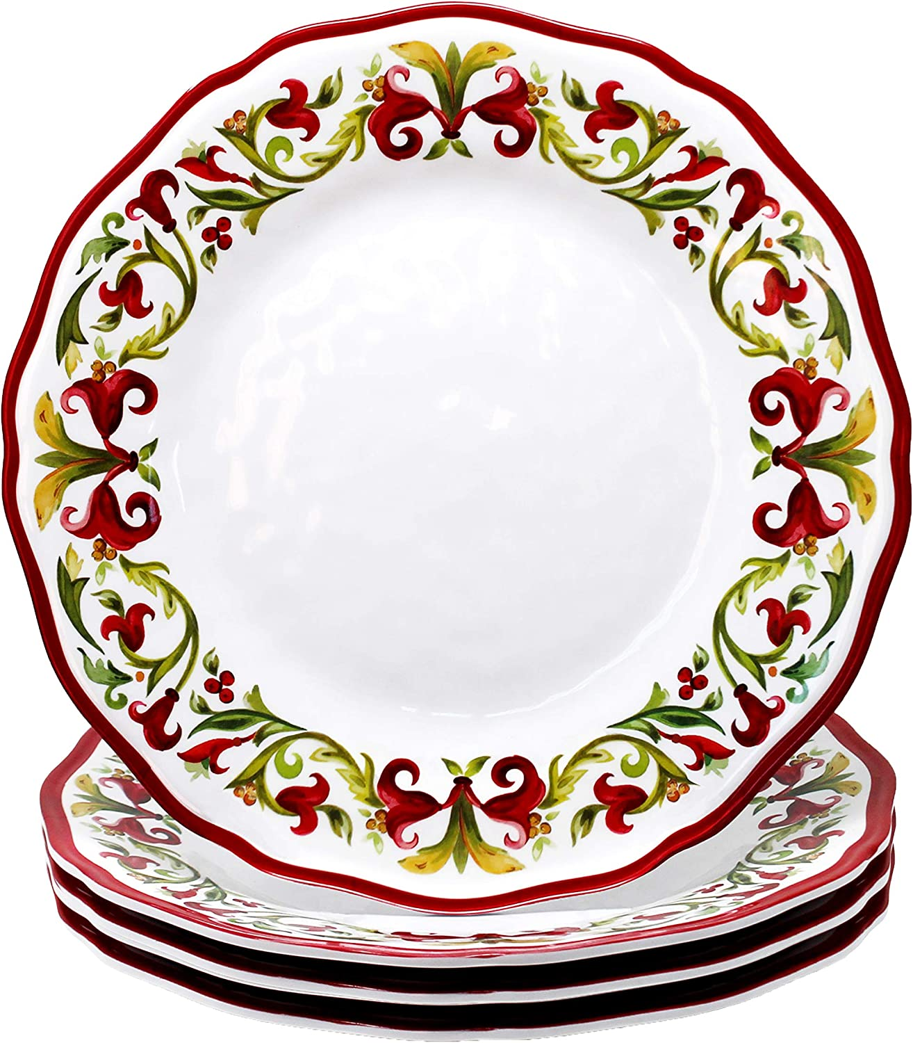Le Cadeaux Vischio Holiday Collection Melamine Dinner Plate, Set of 4