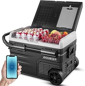 BODEGA 12 Volt Refrigerator Portable Freezer, Car Fridge Dual Zone 37 Quart(35L)-4℉-68℉ RV Electric Compressor Cooler 12/24V DC and 100-240V AC for Outdoor, Camping, Travel,Vehicles