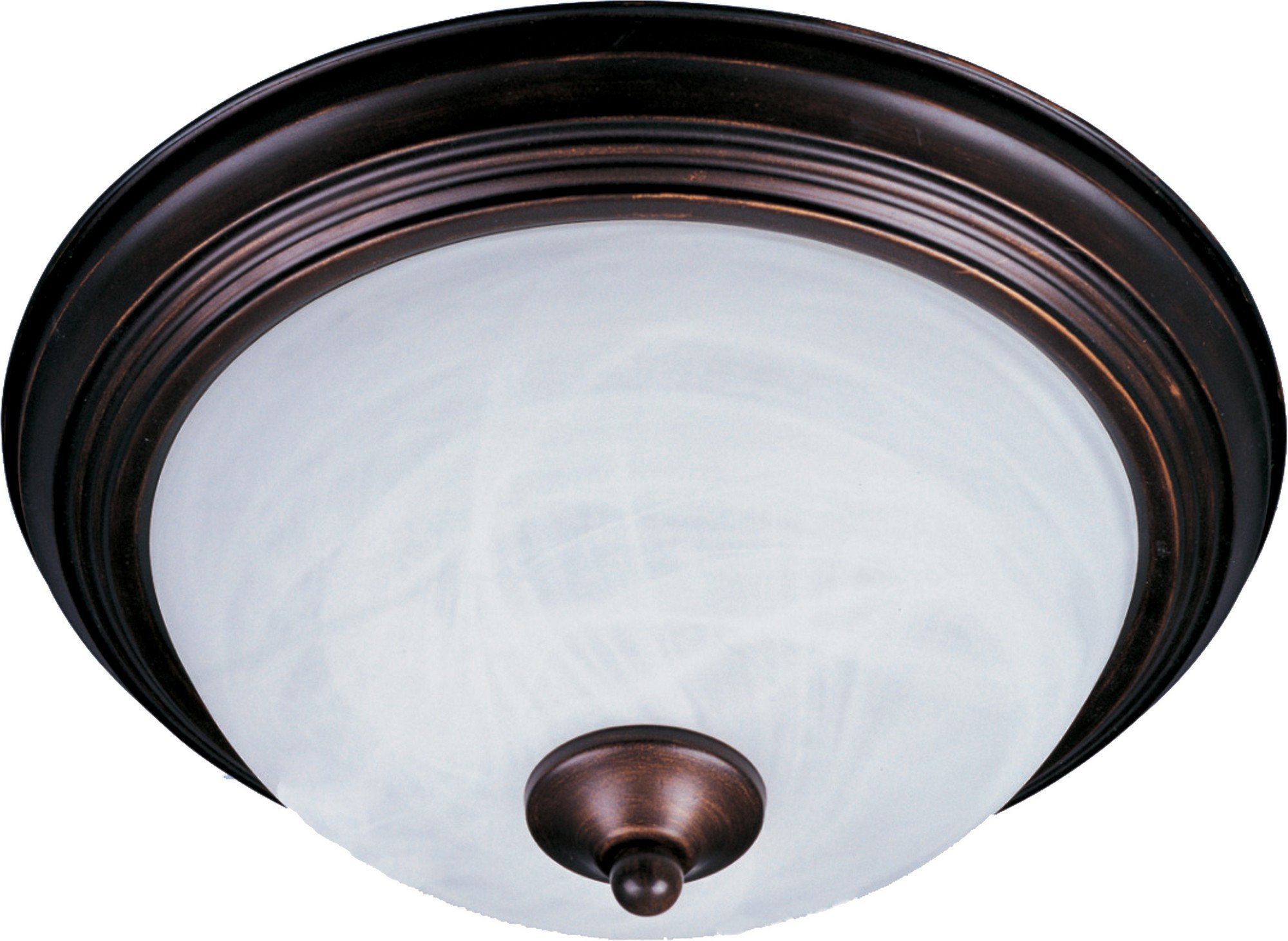 Maxim 5849MROI Essentials 2-Light Flush Mount, Oil Rubbed Bronze Finish, Marble Glass, MB Incandescent Incandescent Bulb , 60W Max., Dry Safety Rating, Standard Dimmable, Glass Shade Material, Rated Lumens