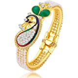 MEENAZ Gold Blue Green White Peacock Ruby Bangles For Women
