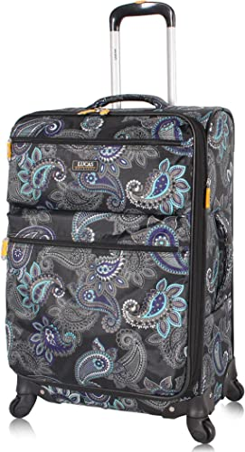 Lucas Designer Luggage Carry On Collection – Expandable 20 Inch Suitcase – Durable Small Ultra Lightweight Bag with 4-Rolling Spinner Wheels Diva