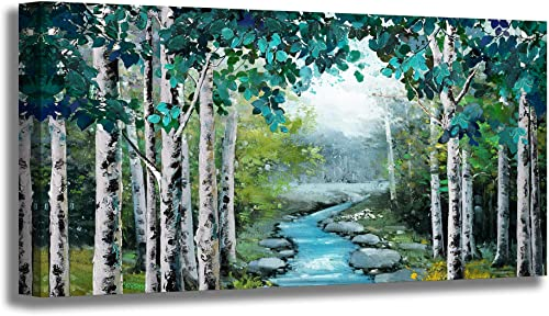Large Wall Art Living Room Wall Decor Canvas Prints Green Birch Forest Wildlife Stream Pictures Artwork Wall Decoration