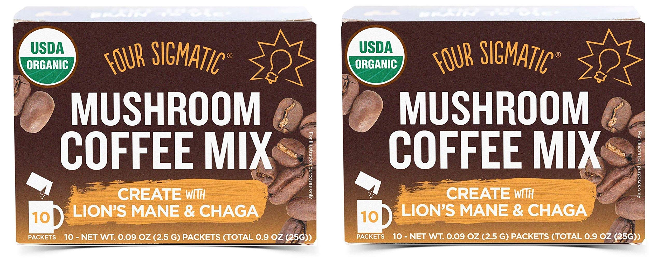 Four Sigmatic Mushroom Coffee, USDA Organic Coffee with Lion's Mane and Chaga mushrooms, Productivity, Vegan, Paleo, 10 Count, Packaging May Vary - PACK-2