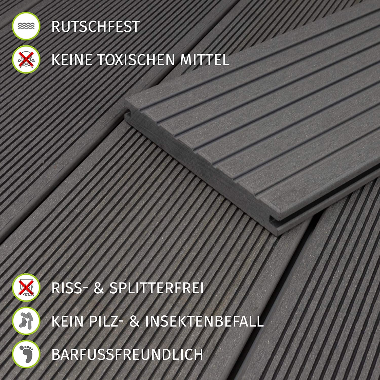 HORI/® WPC BPC Terrassendielen I Massivdiele I Komplett-Set inkl 28x50 mm Unterkonstruktion /& Clips I Dielenl/änge 2,90 m I Fl/äche 5m/²