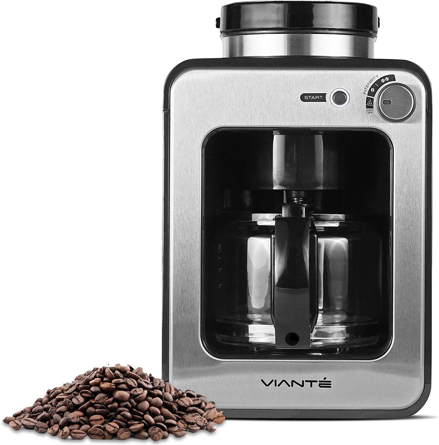 Viante Mini Coffee Maker with grinder built in | Grind and Brew. Bean to Cup | Uses Whole Coffee Beans or Ground Coffee | 4 Cups Glass Carafe | Coffee Strength Selector | Compact Size