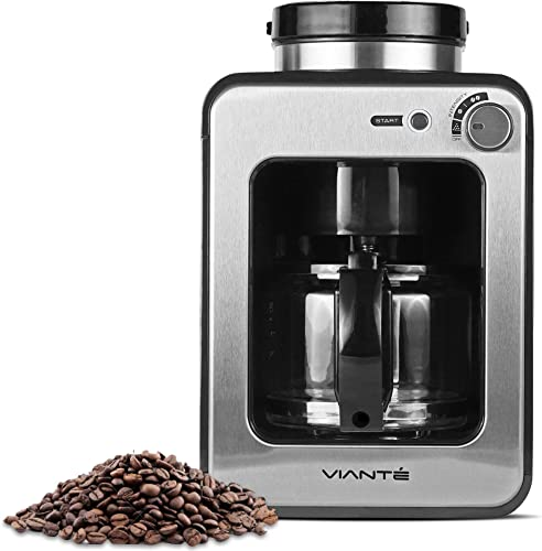 Viante Mini Coffee Maker with Grinder Built In