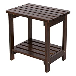 Shine Company Inc. 4104BB Rectangular Side Table, Burnt Brown