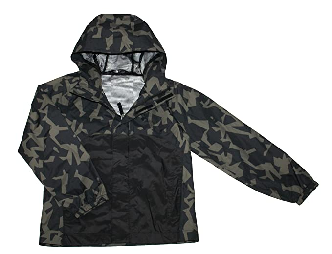 25890e7db47f The North Face James Shell Youth Boys Rain Hooded Jacket TOP Black CAMO  Print (S