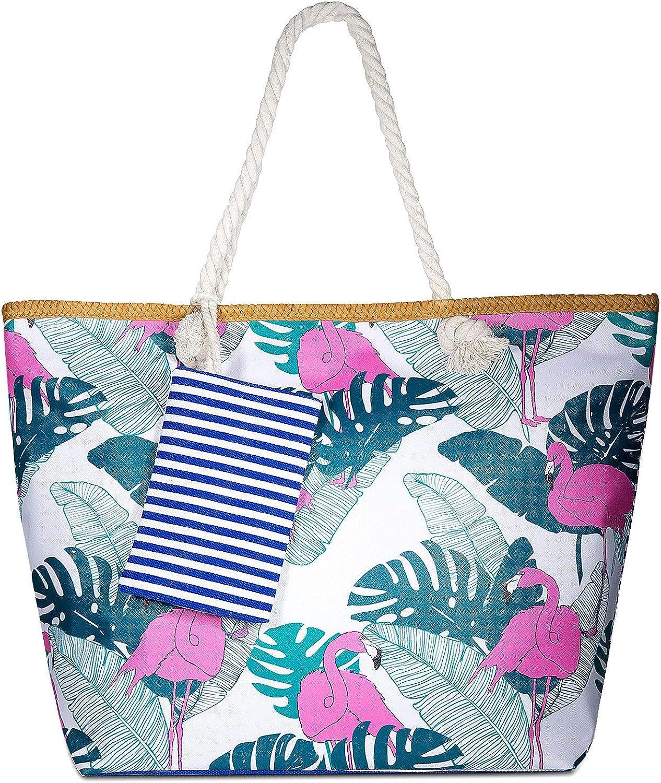 Vordas Welecoco Bolsa de Playa Bolsa Playa Grande Mujer, Bolsa Playa Grande con Cremallera XXL (Tamaño Perfecto 55 x 39 x 16.5 cm), Ideal para la Playa o Piscina