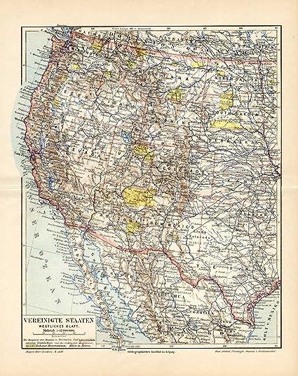 Map Of Nevada And Arizona Usa.Amazon Com Antique Map Usa California Arizona Nevada Meyers 1895