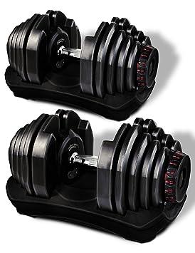 Mancuerna ajustable Sportstech 17en1-Mancuerna con un innovador sistema de clic para 5-40 kg,la ...