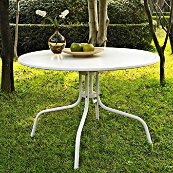 Crosley Furniture Griffith 40 Inch Metal Outdoor Dining Table   Alabaster  White