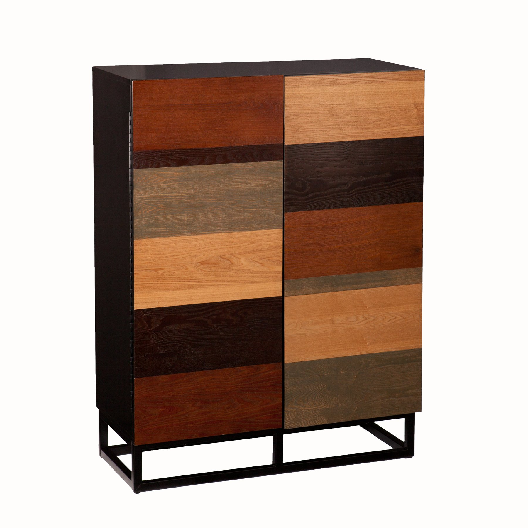 Southern Enterprises Multi Tone Bar Cabinet - Mixed Wood Finishes - Fixed Shelves w/Wine Compartments by Southern Enterprises