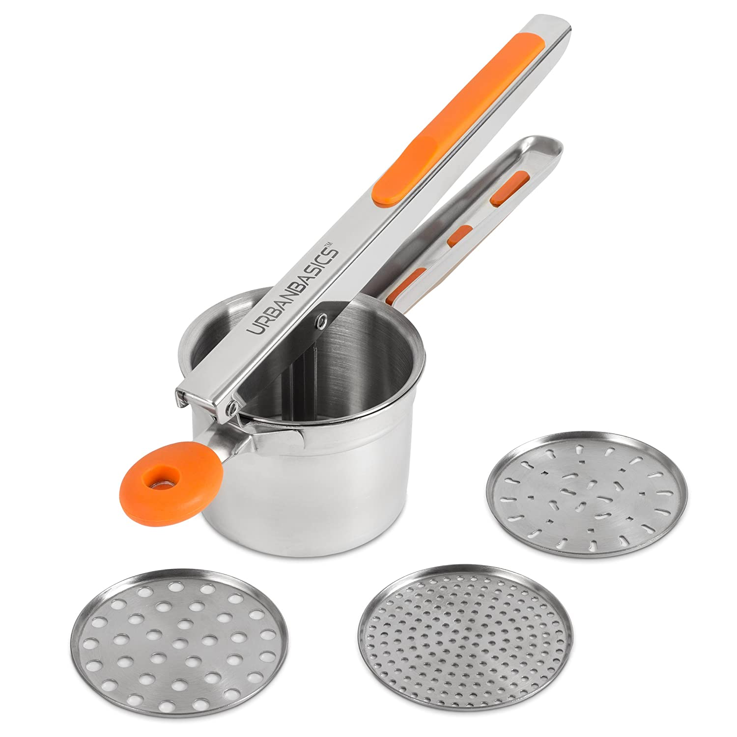 #1 Potato Ricer - Premium Potato Masher - Baby Food Strainer - Gnocchi Press With 3 Interchangeable Discs - Heavy Duty - Strong Stainless Steel - In Bright Orange Silicone Grip - By UrbanBasics™