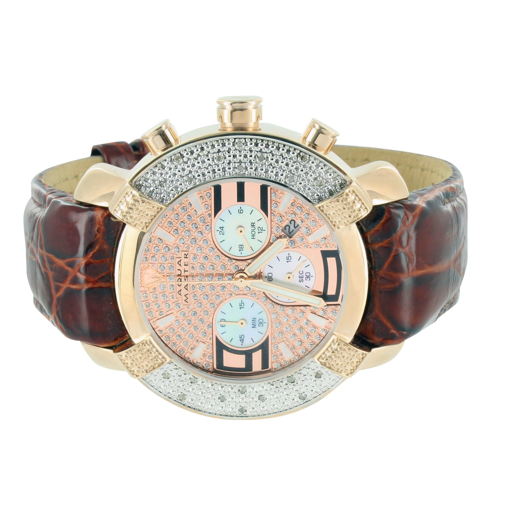 Mens Diamond Watches Crocodile Brown Leather Strap Aqua Master Rose Gold Finish