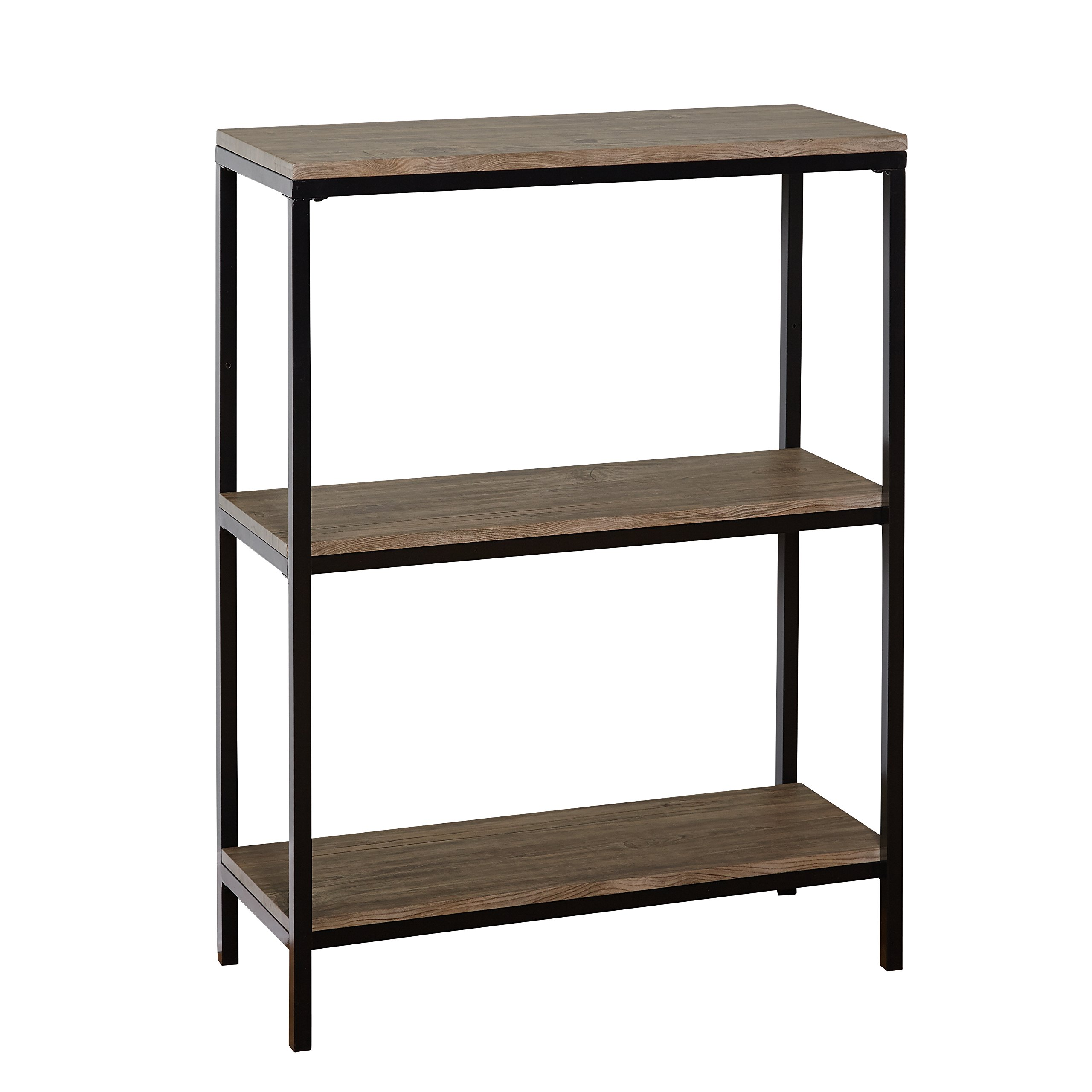 Target Marketing Systems Piazza Collection Mid Century Modern 3 Level Living Room Bookcase, Black/Wood
