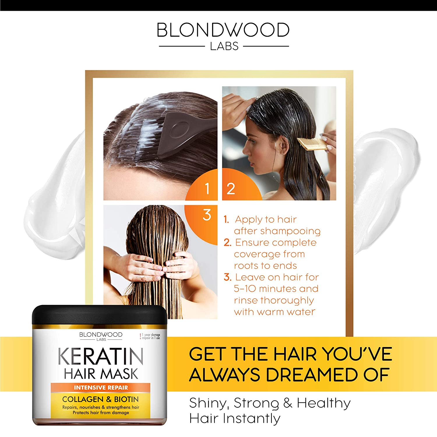 Keratin Hair Mask - Made in USA - Best Natural Biotin Keratin Collagen Treatment for Dry & Damaged Hair - Professional Collagen Hair Vitamin Complex for Hair Repair, Nourishment & Beauty - 8 oz: Beauty