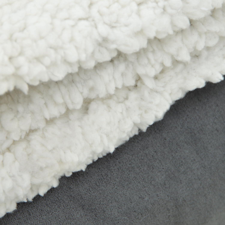 Colore Grigio//Beige 200 x 150cm Sherpa pregiata coperta XXL della Vend/ôme in morbidissimo peluche di pelo dagnello