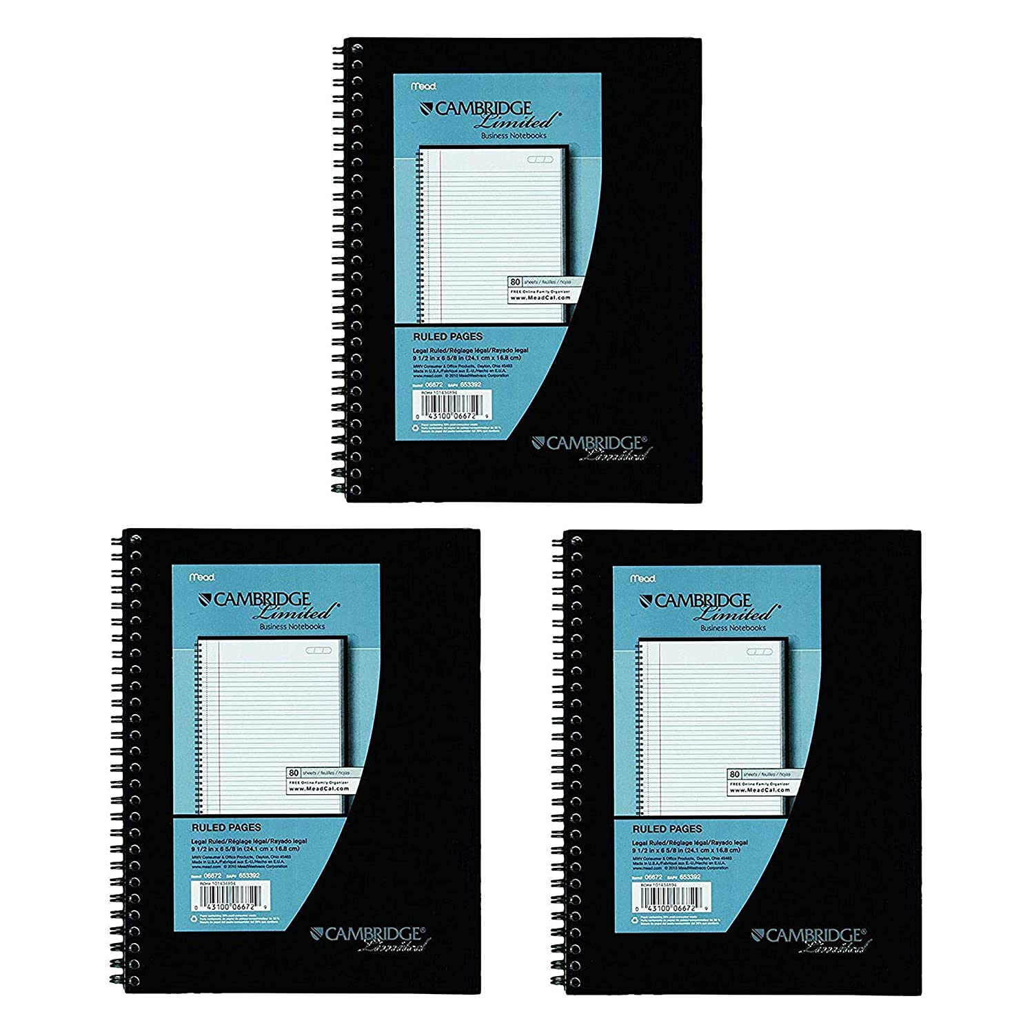 Mead Cambridge Wirebound Business Notebook, Legal Rule, 6 5/8 x 9 1/2 Inches, White, 80 Sheets per Pad (06672)