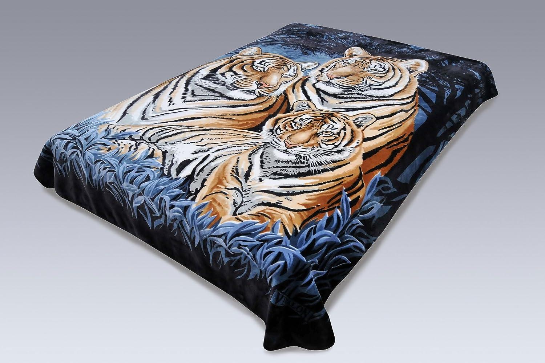Solaron Original Bengal Tigers Thick Mink Plush Korean Style Super Soft Queen Size Blanket - Blue