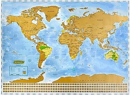 NIMAXI Mapa mundial para rascar, tamaño 83x60 cm, color: azul ...