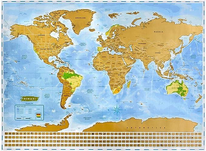 NIMAXI Mapa mundial para rascar, tamaño 83x60 cm, color: azul, alto brillo, Carta del mundo XXL con banderas para rascar gratis: Amazon.es: Oficina y papelería
