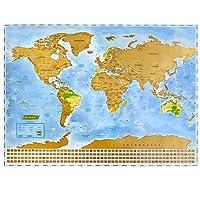 NIMAXI Mappa del mondo da grattare, dimensioni 83 x 60 cm, colore blu, formato XXL con bandiere da grattare