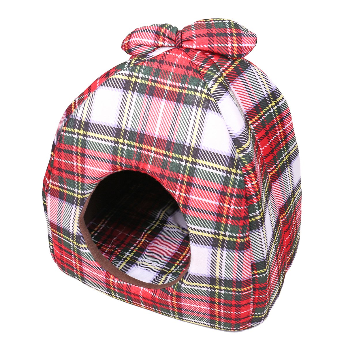 Speedy Pet Dog Cat Tent Beds, Plaid Pattern Soft Warm Removable Mat Cushion Puppy Cats Bed Cave for Small Medium Pets M