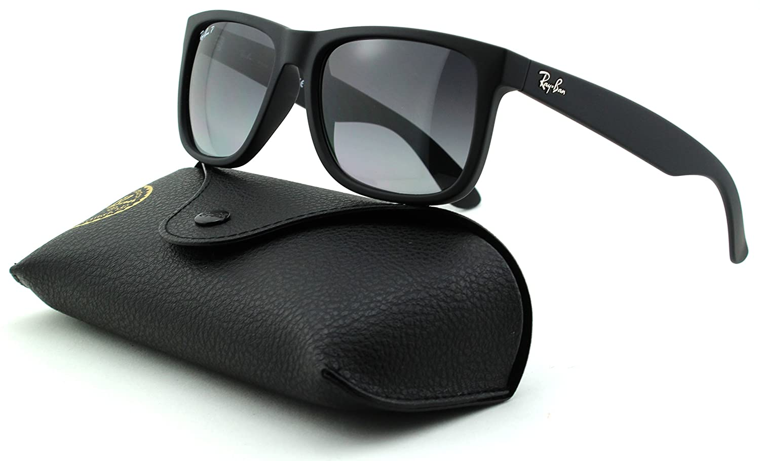 230c0f6a95 Amazon.com  Ray-Ban RB4165 Justin Unisex Rectangular Sunglasses (Black  Rubber Frame Polarized Grey Gradient Lens 622 T3