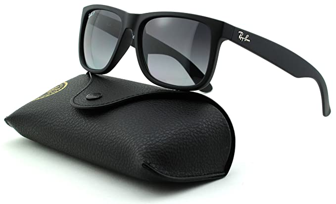 09068a780e Image Unavailable. Image not available for. Color  Ray-Ban RB4165 Justin  Unisex Rectangular Sunglasses (Black Rubber Frame Polarized ...