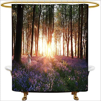 Qinyan Home Design Shower Curtain Stunning Bluebell Woods Sunrise With Rabbit Sunny Spring Day In