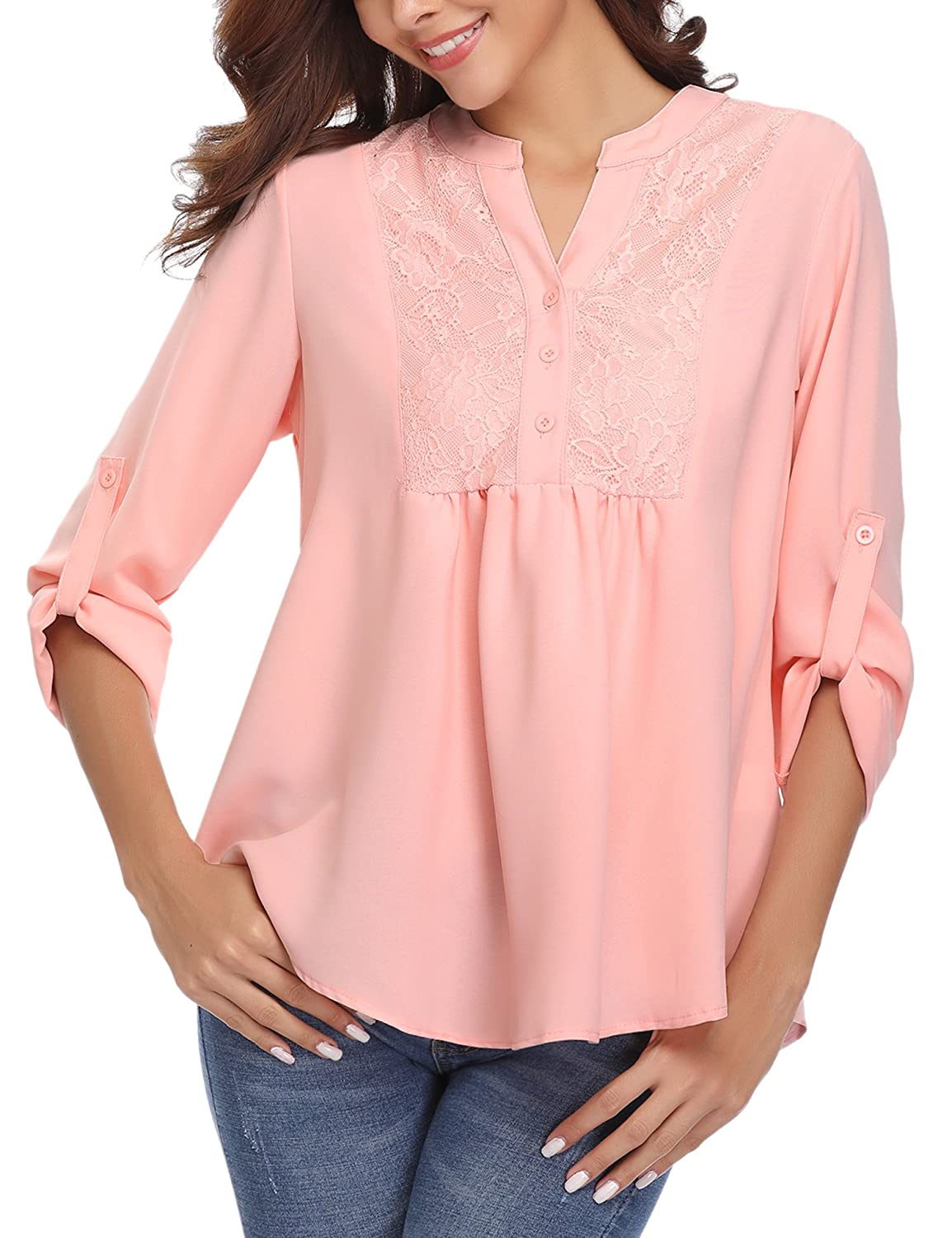 Abollria Womens Casual Chiffon V Neck Cold Shoulder Cuffed Long Sleeve Loose Shirt Blouse Tops