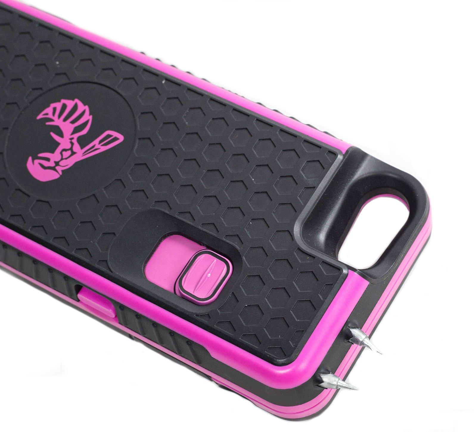 The Only High-Powered Stun Gun that Protects & Recharges Your iPhone 7/7s/8 - Concealed Inside a Durable Weatherproof Case - Flexibility to Attach/Detach - 5.0mAh for Maximum Self Defense - Pink