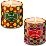 Scented Candles (Lavender and Vanilla), 2 x 7-Ounce Vegan Natural Soy Wax Tins Candle, Gift for Birthday, Christmas and Holiday(2 Pack)
