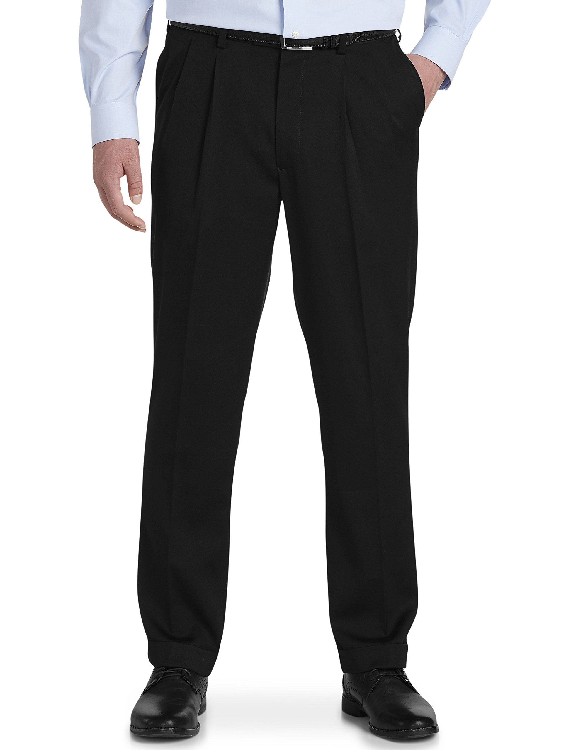 Gold Series by DXL Big and Tall Perfect Fit Waist-Relaxer Luster Sateen Hemmed Pleated Suit Pants