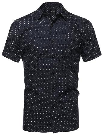 Amazon.com: Youstar Men's Classic Patterned Short Sleeve Button ...