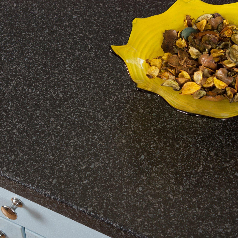 Black Quartz Stone Effect Laminate Kitchen Worktops (Splashback - 3M x 600 x 6mm) WORKTOP EXPRESS