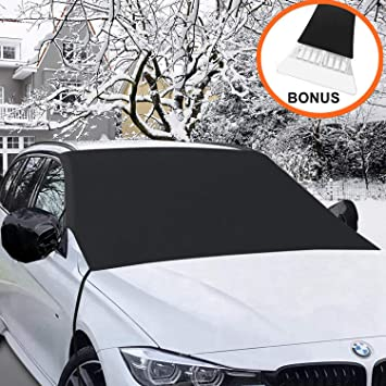 Winter Car Windshield Cover Sun Shade Protector Car Windscreen Cover with Mirrors Snow Cover L//XL for Van SUVs Trucks RVs L