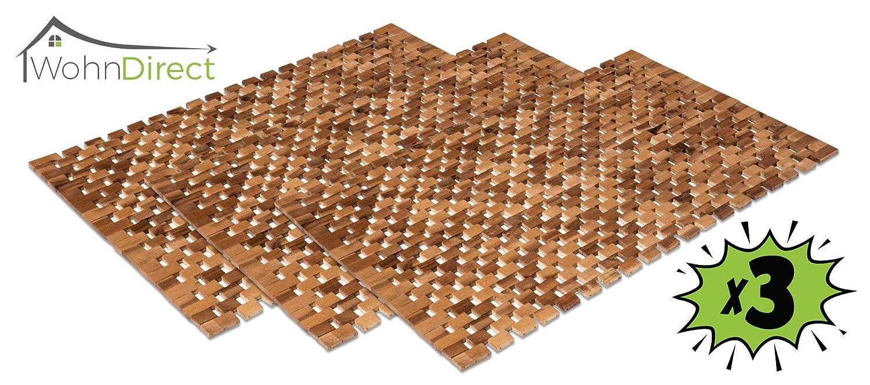 3X Holzbadematte Rutschfest Badvorleger Robust Holzmatte Badezimmer Sauna Wellnessbereich Badteppich 100% Akazienholz 50x80 cm
