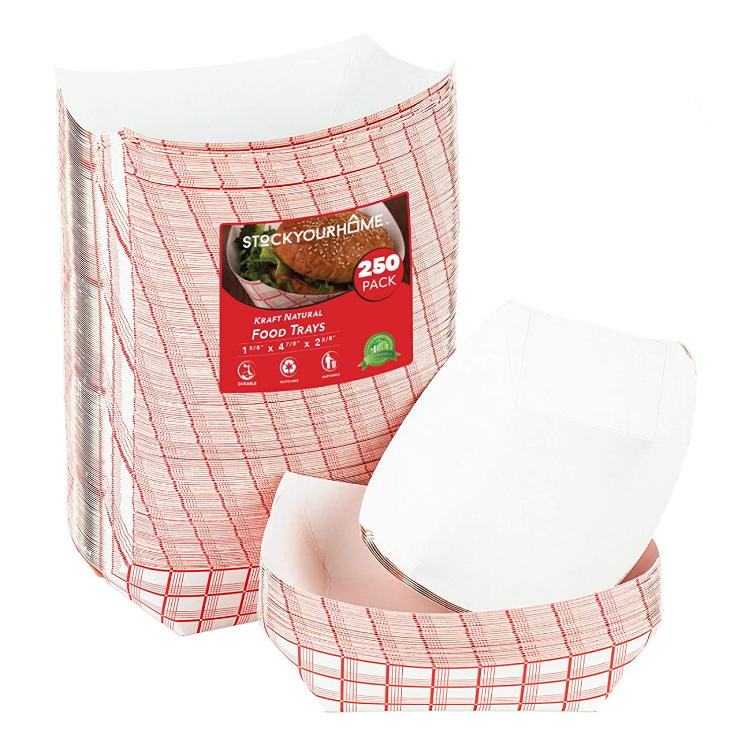Stock Your Home Paper Trays Red Checked-1 Lbs- 250 Count