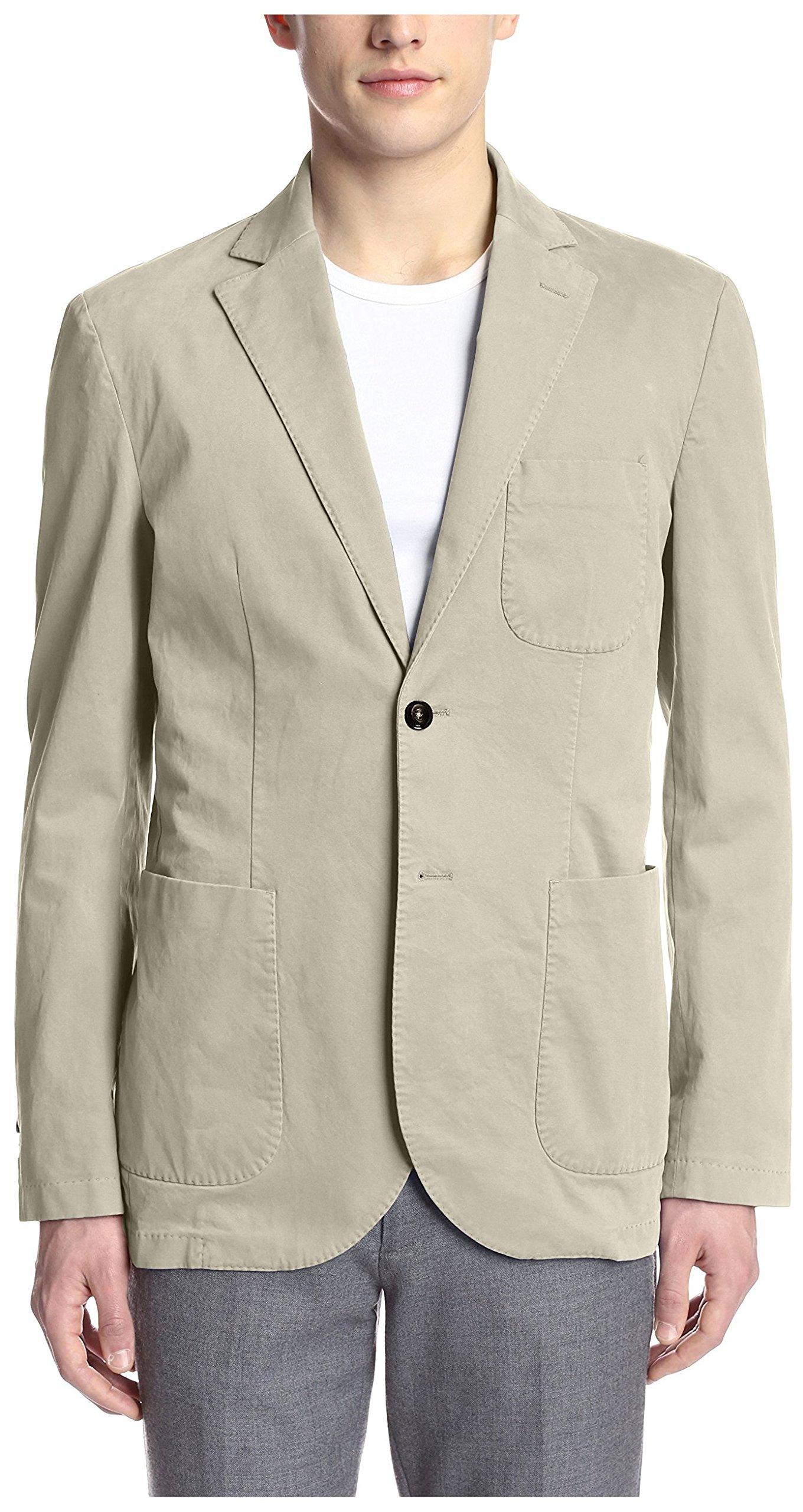 Hardy Amies Men's 2 Button Moleskin Sportcoat, Stone, 42R US