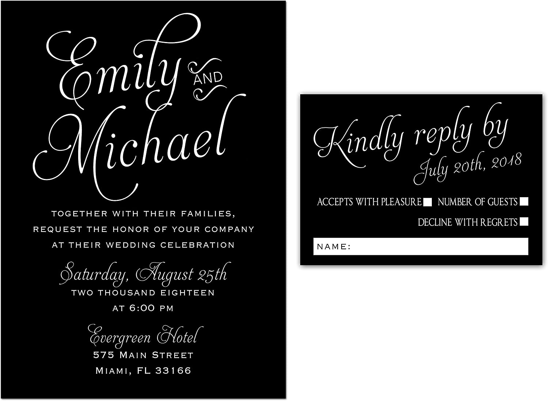 Amazon Com 100 Wedding Invitations Black White Gothic Style Elegant Design Envelopes Response Cards Set Kitchen Dining