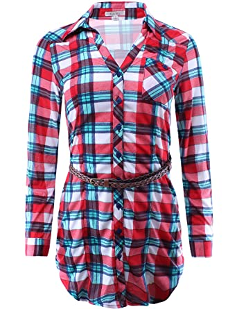 56ebc17d3e4 Checkered Plaid Button Down Tunic Shirt with Roll Up Sleeves Red White Teal  S Size