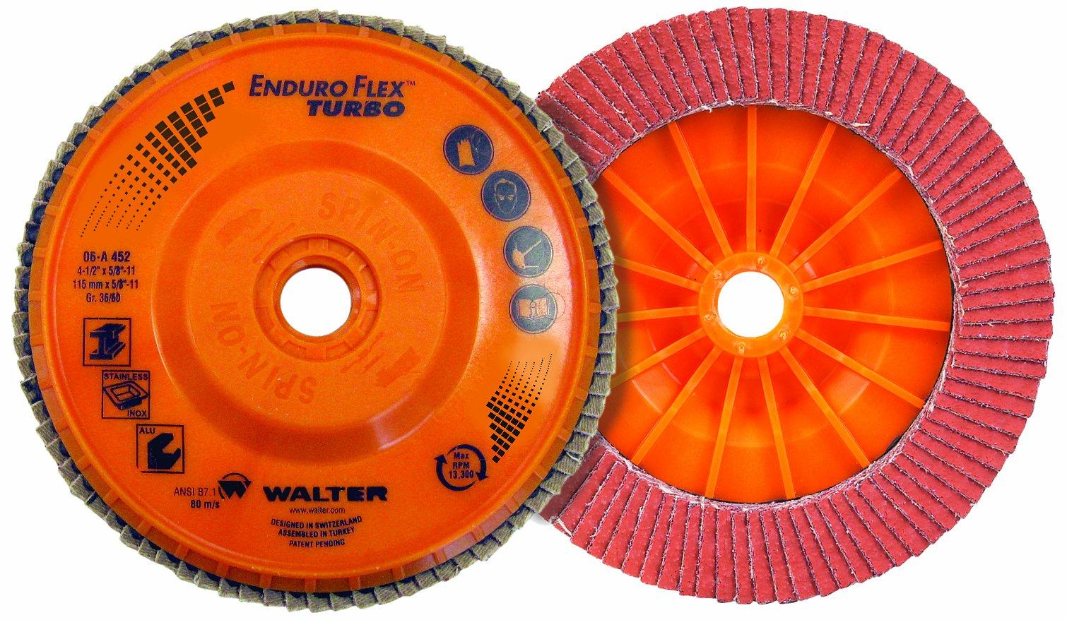 Walter Enduro-Flex Turbo Abrasive Flap Disc, Type 29, 5/8''-11 Thread Size, Plastic Backing, Ceramic, 4-1/2'' Diameter, Grit 36/60 (Pack of 10)