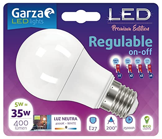 Garza Lighting - Bombilla LED Regulable On/Off Esférica en 4 pasos, potencia 5W, casquillo E27, luz cálida 3000K: Amazon.es: Iluminación