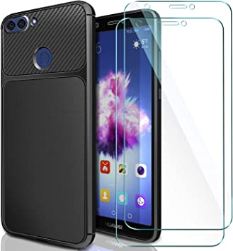 AROYI [2 Pack Huawei P Smart Cristal + Funda, Huawei P Smart Carcasa & Protector de Pantalla Cristal Templado 9H Dureza + Soft TPU Silicone Case Cover para Huawei P Smart: Amazon.es: Electrónica