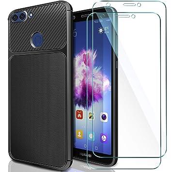 AROYI [2 Pack Huawei P Smart Cristal + Funda, Huawei P Smart Carcasa & Protector de Pantalla Cristal Templado 9H Dureza + Soft TPU Silicone Case Cover ...