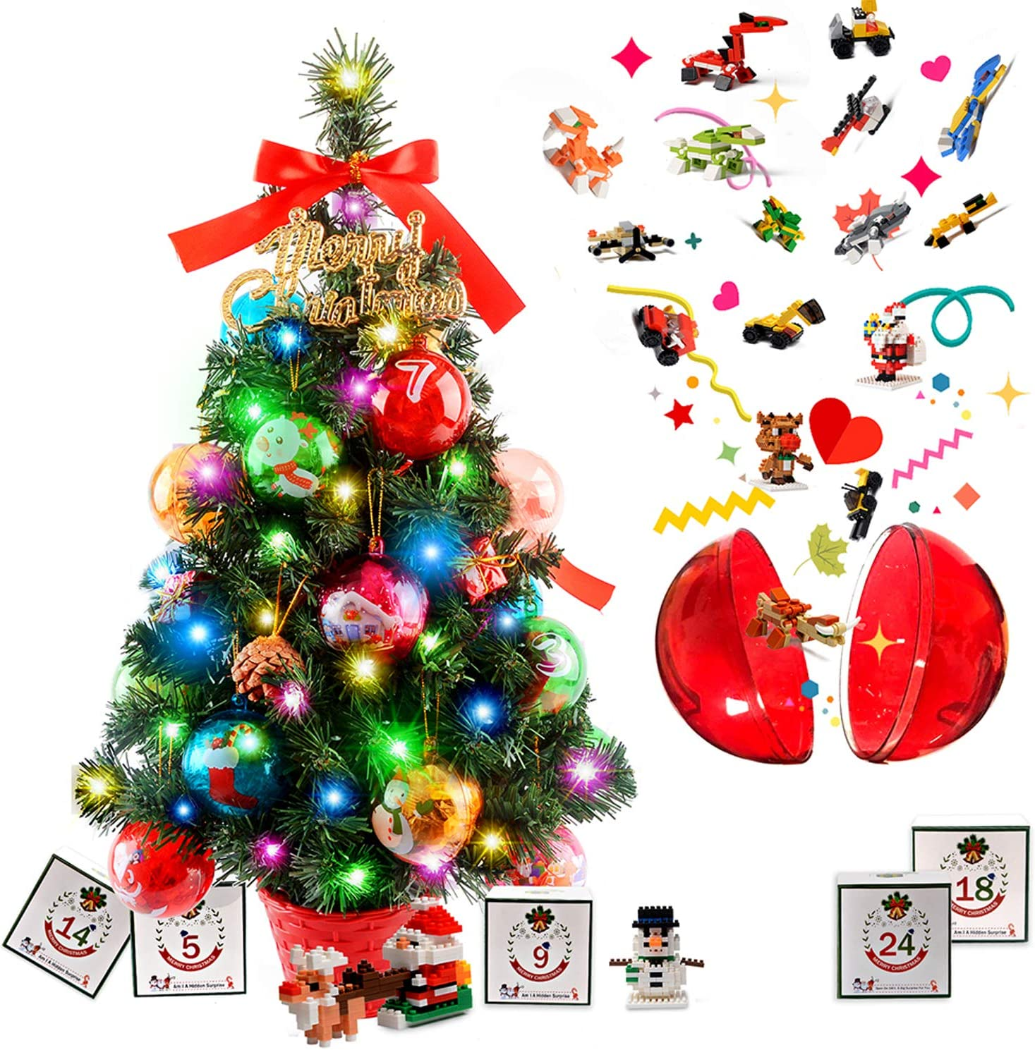 N-B Tabletop Christmas Tree Xmas Tree Christmas Advent Calendar for Kids Mini Christmas Tree with Lights & 36 PCS DIY Ornaments(Blind Box & Countdown Calendar)