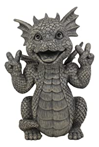 "Ebros Whimsical Garden Dragon with Hippie Peace Sign Gesture Statue 10.5"" Tall Cute Baby Dragonling Smiling Wide Faux Stone Resin Finish Figurine Home Decor Sculpture"